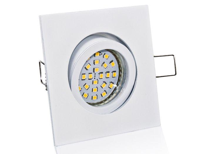 LED Einbaustrahler Set mit Marken GU10 LED Spot Nextec 4 Watt Alu-Druckguß Eckig Weiß Klickverschluß