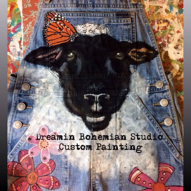 Custom Hand Painted Sheep Lamb Overalls for Girls FFA Butterflies Stockshow by dreaminbohemian on Etsy
