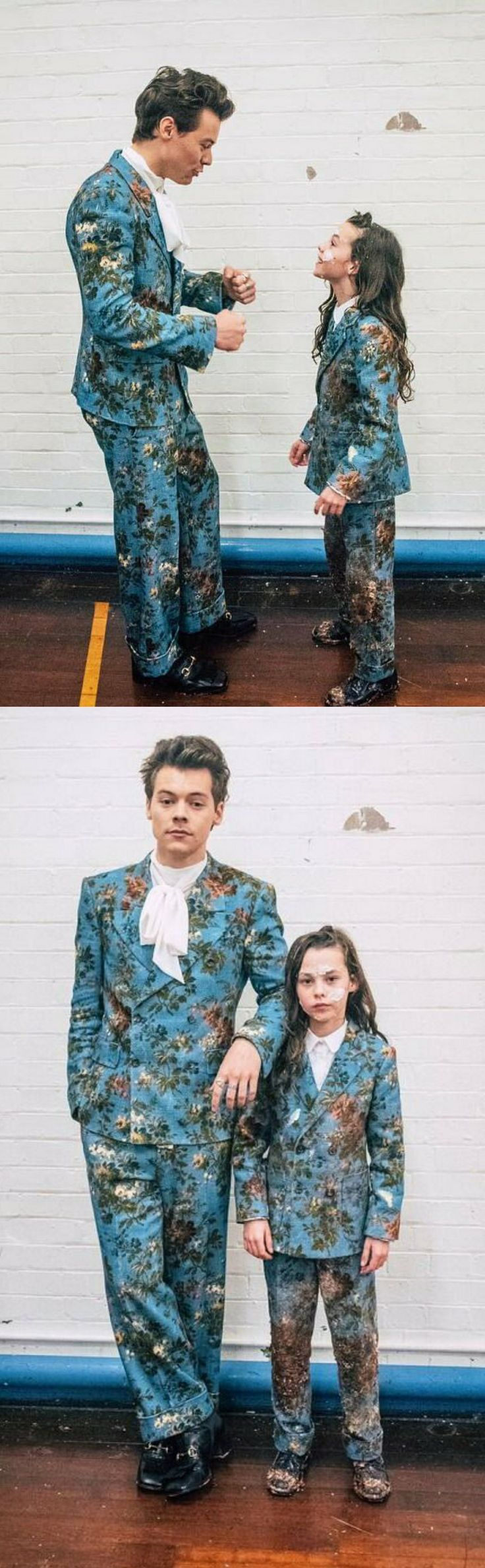 Harry Styles and mini Harry Styles wearing matching Gucci suits for Kiwi music video