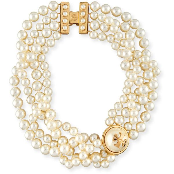 Tory Burch Crystal Simulated Pearl Statement Necklace ($275) ❤ liked on Polyvore featuring jewelry, necklaces, pearl, yellow statement necklace, crystal statement necklace, yellow crystal necklace, crystal bib statement necklace and yellow necklace