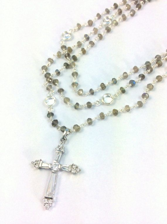 Crystal Cross Necklace Labradorite Gemstones by divinitycollection, $189.00