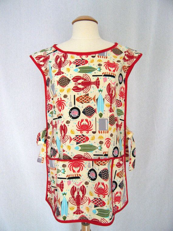 Beach Nautical Cobbler Apron Smock Apron with Lobsters, Crabs, Fish - Timeless Treasures Bistro Menu
