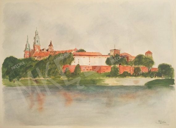 Printable original watercolor of Wawel Castle by MKedraDecoupage, $7.00