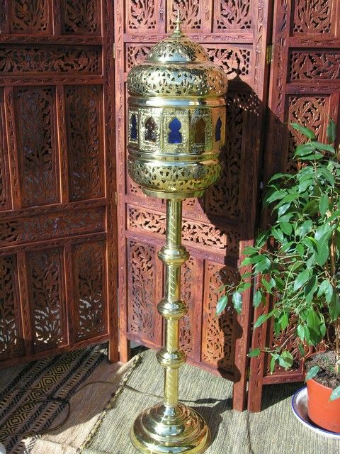 Moroccan floor standing wired brass lamp. http://www.maroque.co.uk/showitem.aspx?id=ENT00814&s=20-10-084