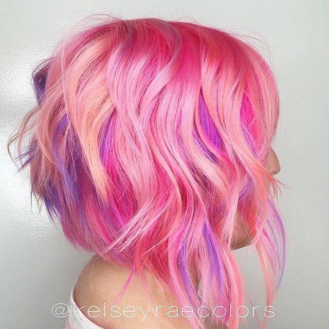 C A N D Y CONFETTI Look at these vibrant colors by @kelseyraecolors! Haircut by @kaithowardhair #hotforbeauty #shagboston #bostonhairstylist . . . #bob #layeredbob #disconnectedbob #pinkhair #hairpainting #pravana #purplehair