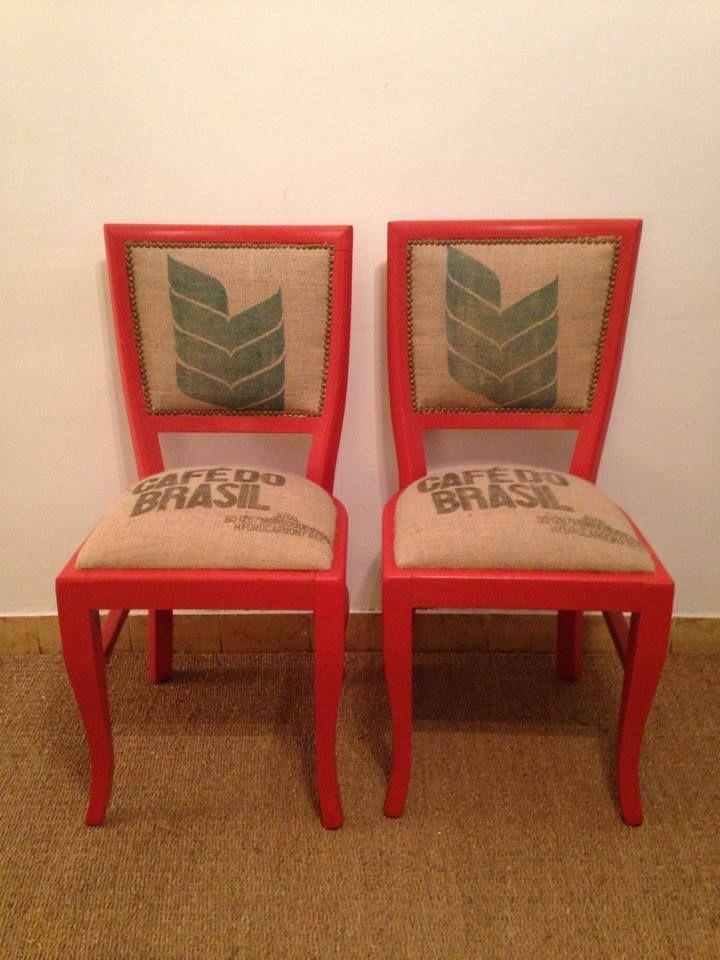 Sillas restauradas tapiadas en arpillera muebles - Sillas antiguas restauradas ...