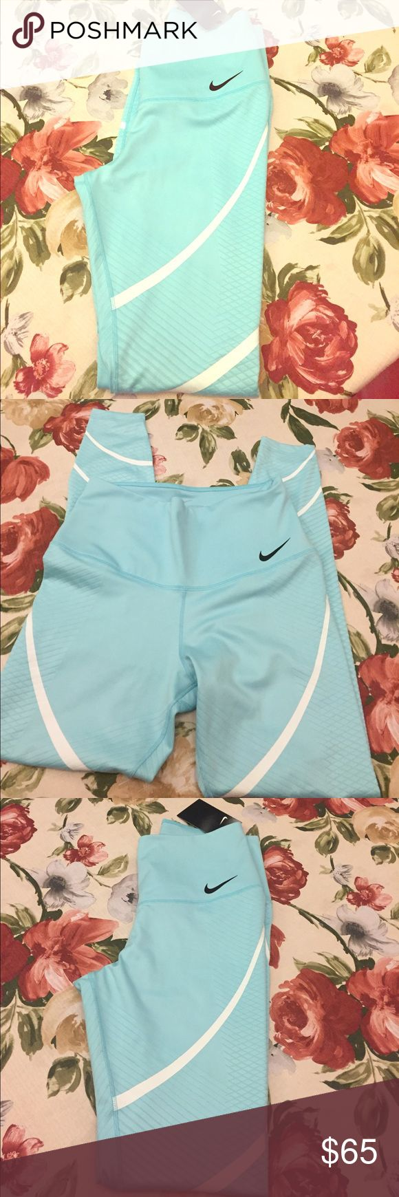 Bright blue/baby blue Nike leggings Never worn with tags attached Nike leggings, hope you see the weave pattern running down the side of the putter thigh part. Nike Pants Leggings