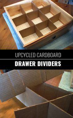 DIY Closet Organization Ideas for Messy Closets and Small Spaces. Organizing Hacks and Homemade Shelving And Storage Tips for Garage, Pantry, Bedroom., Clothes and Kitchen  |  Upcycled Cardboard Drawer Dividers  |  http://diyjoy.com/diy-closet-organization-ideas