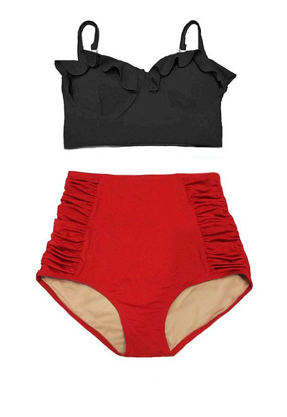 Black Midkini Top and Red Ruched High Waisted Waist by venderstore
