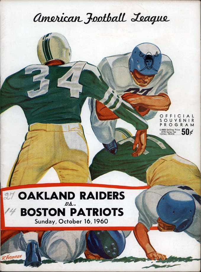 1960 AFL Game Program - Boston Patriots vs. Oakland Raiders. Looks like someone recorded the final score which greatly reduced the trade value.  According to the score, Oakland beat Boston by a score of 27-14.