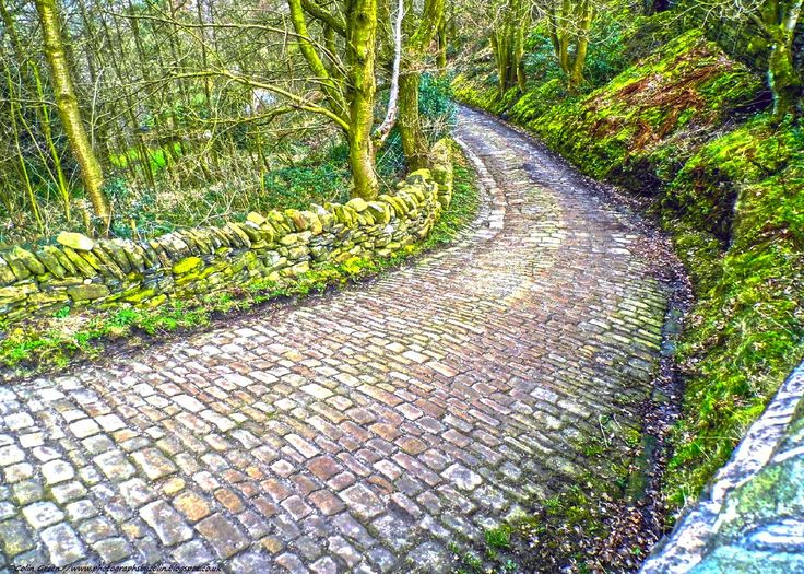 Cobbled road taken at Norland in Calderdale, West Yorkshire.