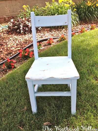 The Weathered Willow: Thrift Finds Galore! Shabby Painted Kid's Chair