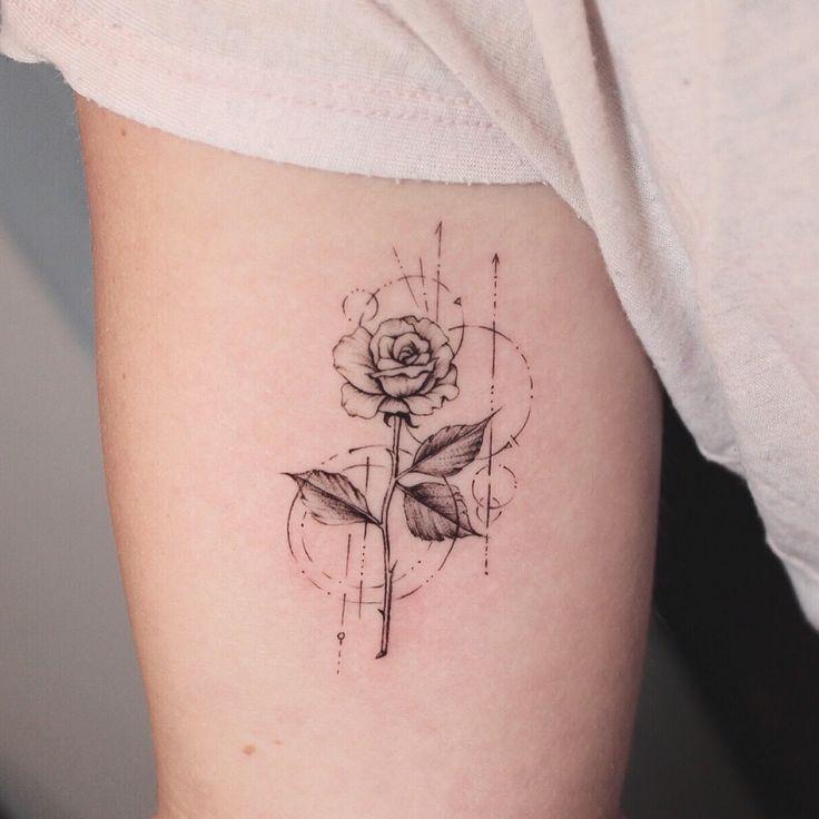 Geometric rose in 2020 geometric rose tattoo red ink