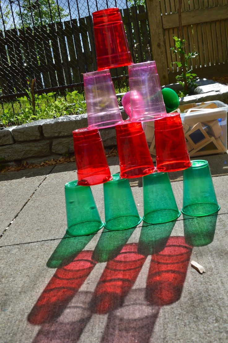 Building with colored cups outside-love the colored shadows in photo-Extraordinary Classroom: The Simplicity and Complexity of Patterns