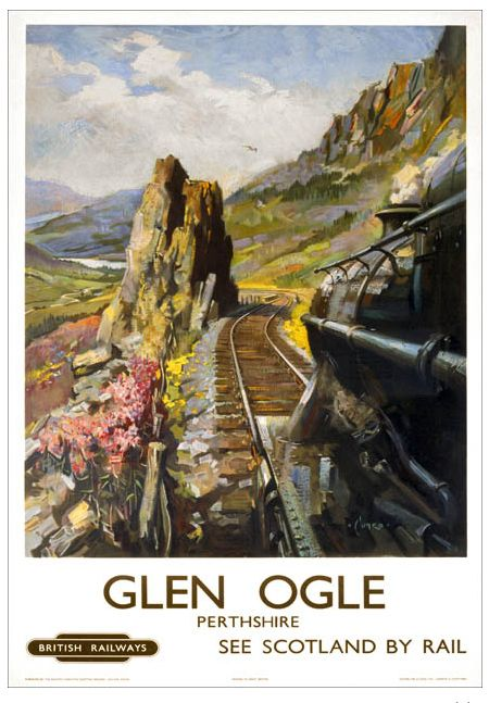 Poster produced for British Railways (Scottish Region) around 1950 and shows a view from the cab of a Class 5 locomotive on the line between Callendar and Oban. The illustration shows a single track winding through the colourful Perthshire countryside in Scotland. Artwork by Terence Cuneo (1907-1996)
