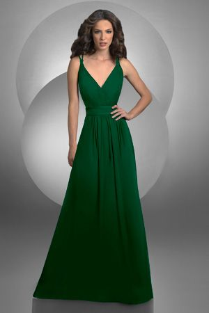 Long, hunter green bridesmaid dress by Bari Jay.