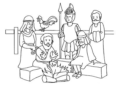 Peter Denial Jesus 3 Times Coloring Page 400x293