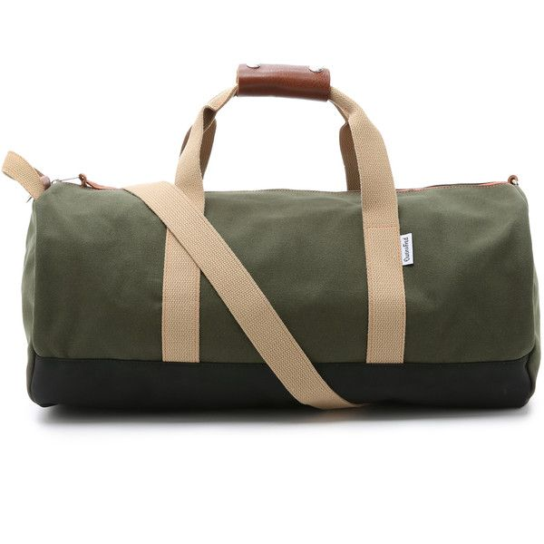 Owen and Fred Work Hard Play Hard Duffel Bag ($115) ❤ liked on Polyvore featuring men's fashion, men's bags, army, mens canvas bag, mens duffel bags and mens canvas duffle bag