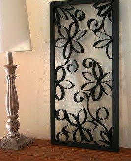 Quadro decorativo para casa com rolo de papel higiênico | Reciclagem no Meio Ambiente