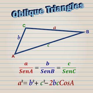 La resolución de triángulos rectángulos es muy sencilla, se aplican directamente las funciones trigonométricas y/o el Teorema de Pitágoras y con eso es suficiente.  En cambio cuando los triángulos no tienen ningún ángulo recto, es necesario aplicar las leyes de senos y cosenos y despejar la incógnita que nos permitirá resolver el problema propuesto.