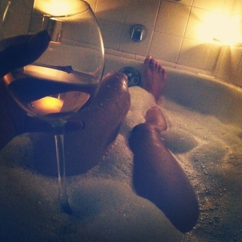 A bubble bath, candles, and a glass of wine...perfect way ...