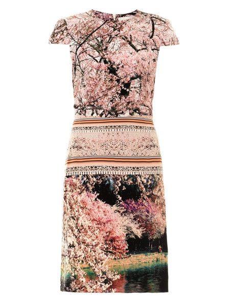 Mary Katrantzou Silver Silver Lake-print Dress