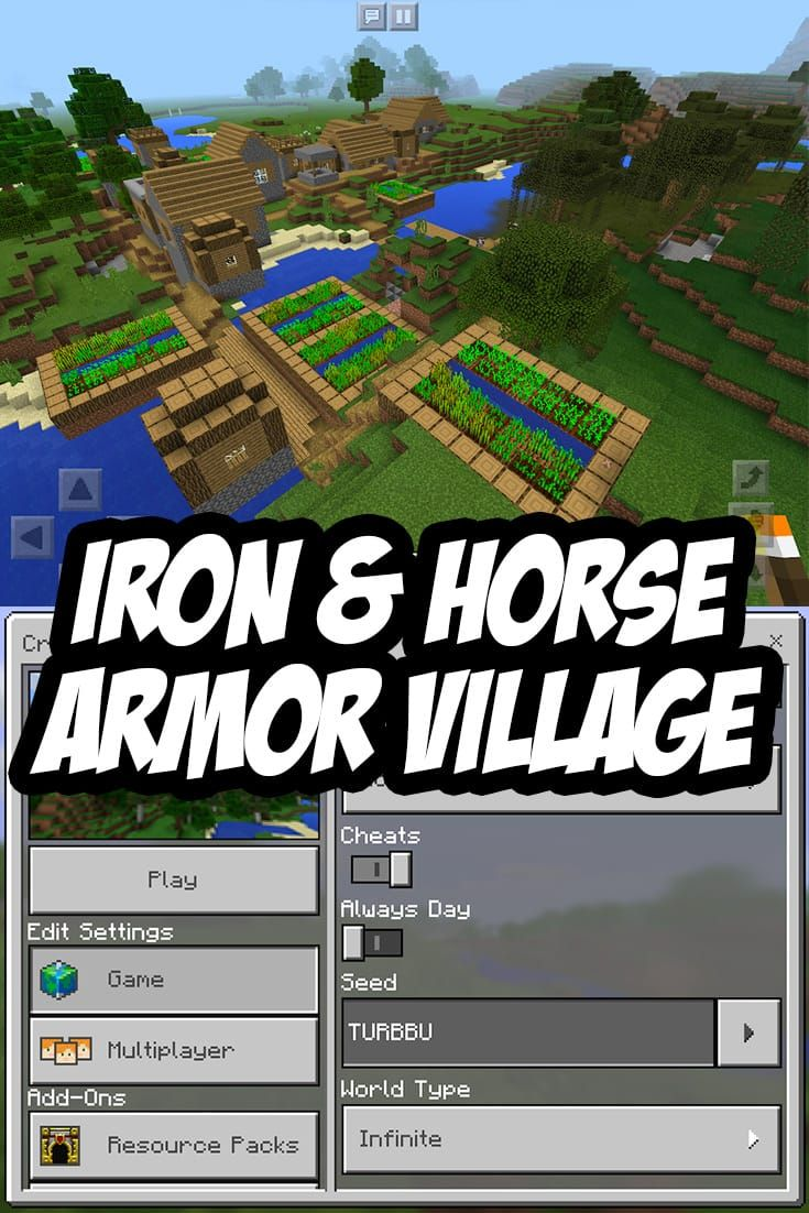 Village with Iron & Horse Armor at Spawn. MCPE Seed:TURBBU