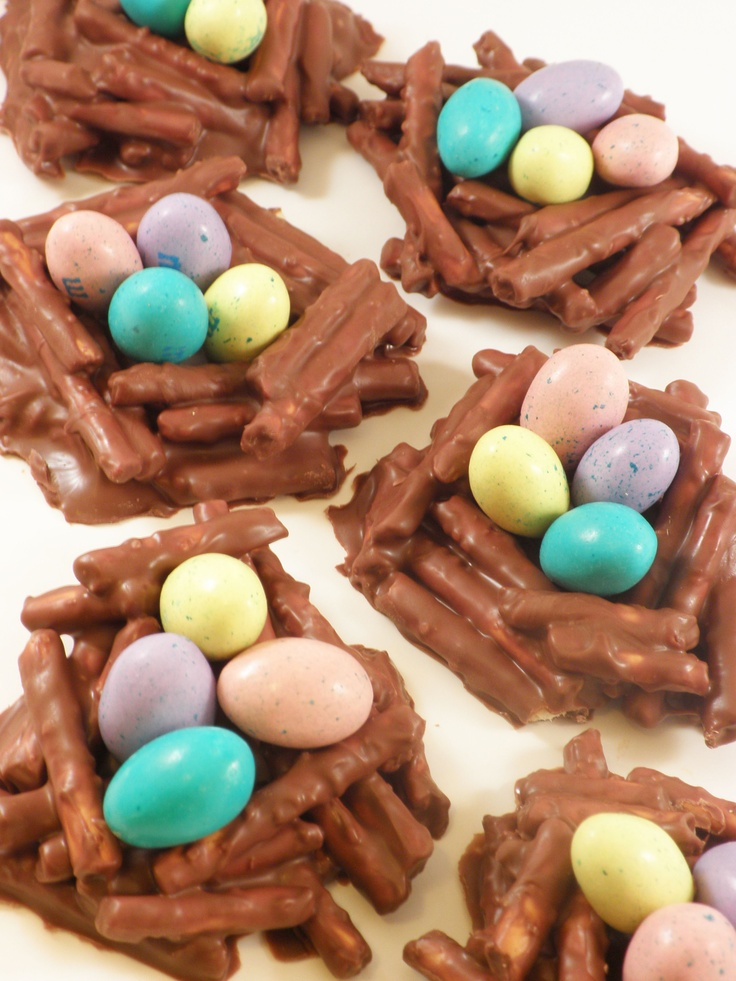 easter chocolate covered pretzel nests.