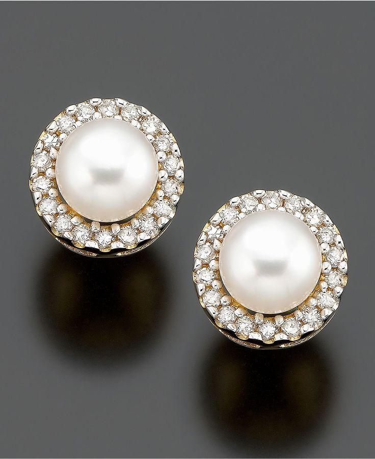 gorgeous! pearls ringed with diamonds. These may be my new daily pearls!