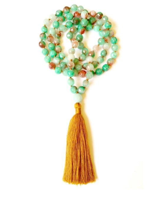 🌿Inspired by the element of earth, these divine EARTH MALA prayer beads are handmade with love from 90 large and faceted gemstones of healing Green Agate (8mm wide) with an Amazonite Guru Bead and a golden earthy tassel. <>$120<> Feel the grounding vitality of the Earth Mala... The Earth is the realm of wisdom, knowledge, strength, fertility, growth and prosperity. It is also the physical Earth on which we live, the very heart of life and mother of all things! ✨~heartmala.com~ 💚
