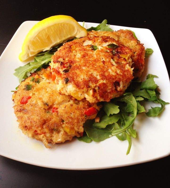 Crab Cakes with Lemon Vinaigrette (Serves 4) : : : A 'Paleo' recipe substituting almond flour for bread crumbs