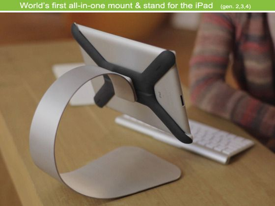 Mounting system and iPad stand combined. A sleek combination of quality and simplicity.