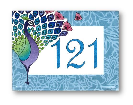 Address Plaque Peacock Address Sign House Numbers by AyeBarDesigns