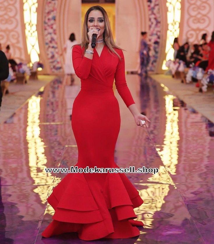 Meerjungfrau Abendkleid Langarm Arieke Rot