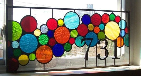 Stained Glass Window Panel / Bright and Bubbly by terrazaglass on etsy