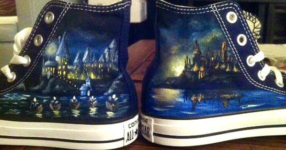 My god, I want these so bad! I wish I didn't have flat feet... | Hand Painted Harry Potter Castle/ Hogwarts Shoes by YourSoleExpression @ Etsy