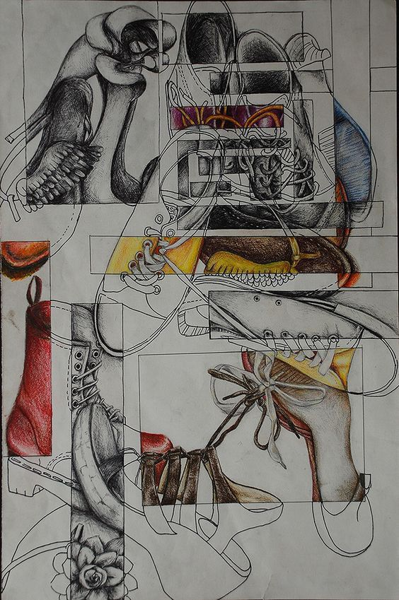 Secondary High School Art drawing a collection example shoes