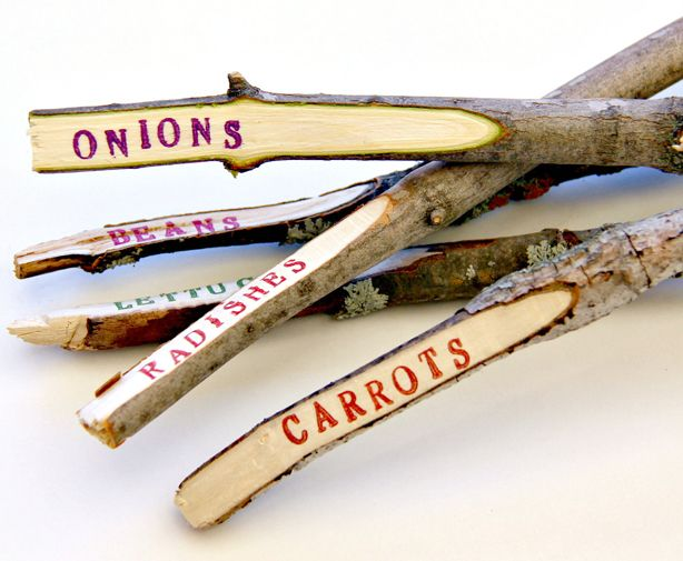 A crafty recycle that uses tree limbs and trigs for garden labels - - - simple, rustic, DIY garden markers - - - http://pinterest.com/whitetigger68/crafts/