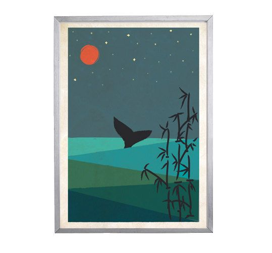 Japanese Art Inspired 'Whale' Poster Print A4 or A3 by AboutMika