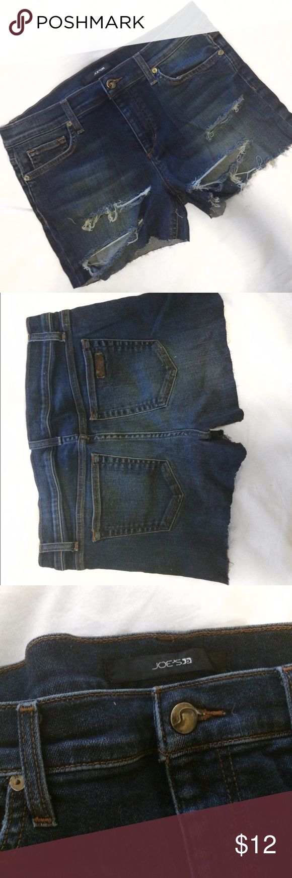 Joe's Jeans Cutoff shorts Distressed/ripped denim shorts from joe's jeans. Used to be jeans so not cutoff 100% evenly but they still look great. Size 31. Joe's Jeans Jeans
