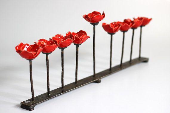Unique Terre Sainte israélien Hanukah Menorah, fleur rouge Hanukia, porte-bougie de Hanoucca, chandelier, pendaison de crémaillère, mariage, Hanoukka