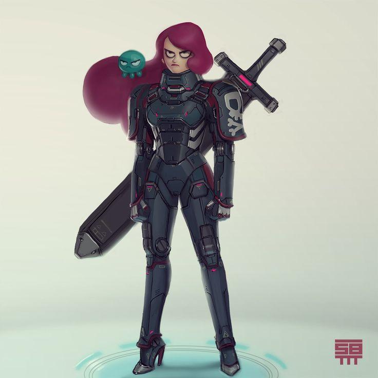 Octavia - Space pirate, Serge Birault on ArtStation at https://www.artstation.com/artwork/mnWP1