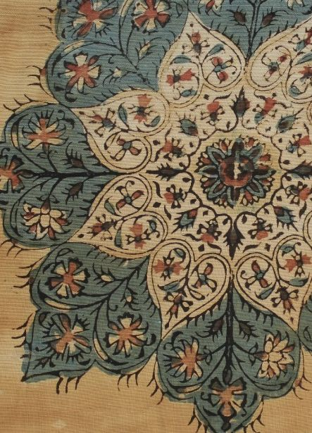 19th C Indian block printed chintz