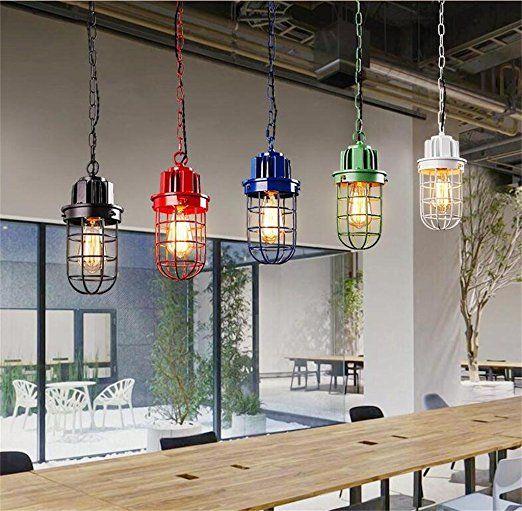 lampes rétro minimaliste industriels en fer forgé américains personnalité créative salon comptoirs de bar Cafe Restaurant à tête unique chandelier (1 lumière) ( couleur : Blanc )