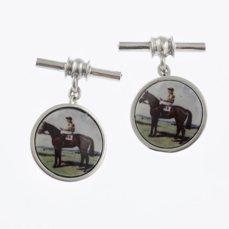 Vintage style sterling silver cufflinks with standing race horse and jockey in blue and yellow by Sky with Diamonds | Sky with Diamonds