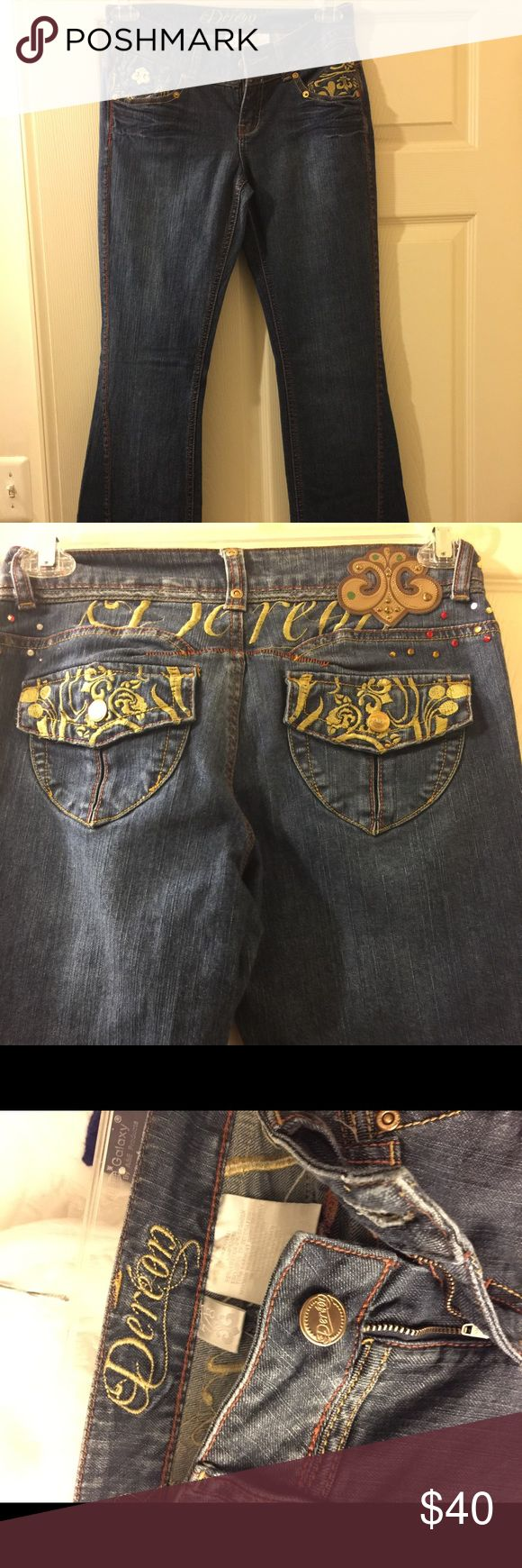 House of Dereon  Women's Jeans ⁉️FINAL MARKDOWN⁉️  DEREON GOLD EMBROIDERED/ COLORFUL RHINESTONES EMBELLISHED BOOT CUT JEANS SZ 7/8 House of Dereon Jeans Boot Cut
