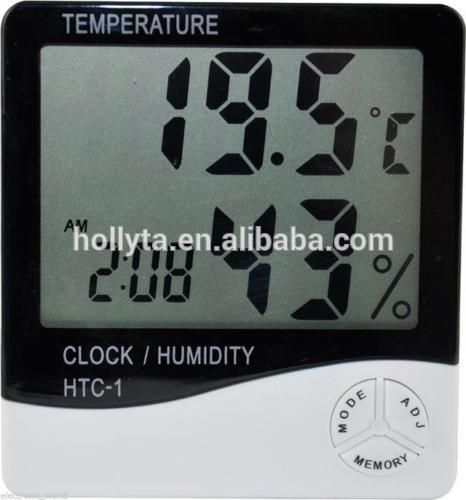 Portable LCD Digital Room Temperature and Humidity Meter Clock