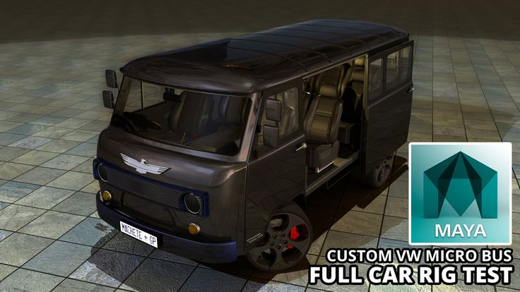 Autodesk Maya 2015 Custom VW Micro Bus (V Dub C - T3) Full Car Rig (Free...