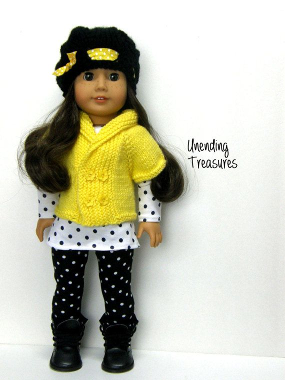 ADD AS MANY OF MY ITEMS TO YOUR SHOPPING CART AND CHECK OUT AT ONE TIME, AND YOU ONLY PAY FOR SHIPPING ON THE FIRST ITEM. FREE SHIPPING ON ALL ADDITIONAL ITEMS AFTER THE FIRST ONE.  This 2 piece outfit will fit your 18 inch doll.  1. The yellow sweater vest is made with a soft baby weight yarn.  2. The black cloche hat has a ribbon of fold over elastic in a yellow with white dot.  ADD THE DOTS TUNIC AND LEGGINGS…