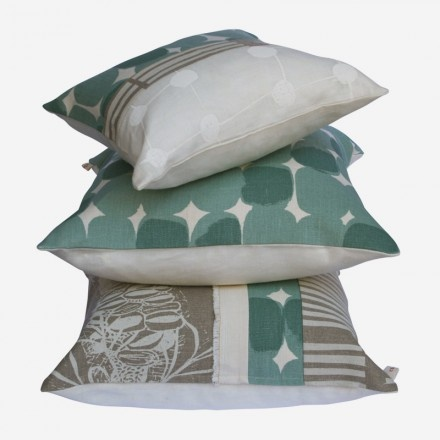 We love Cloth Fabric cushions. Here in Flax and Surf.  www.clothfabric.com